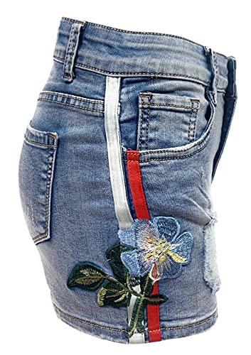 Laphilo - Pantalones vaqueros cortos vaqueros para...