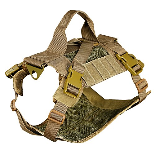 Outry Tactical Dog Vest, Adjustable Dog Training Vest, No-Pull Harness, One Size Fits Most - Tan