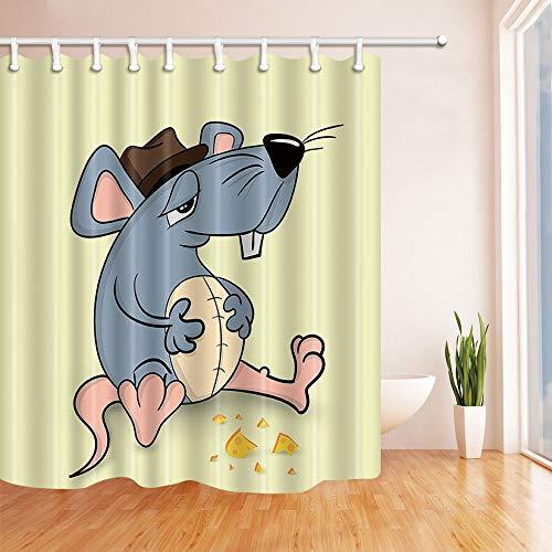 JZDH Ratte Essen Duschvorhang Tier Duschvorhang mit 12 Haken 180 * 180CM
