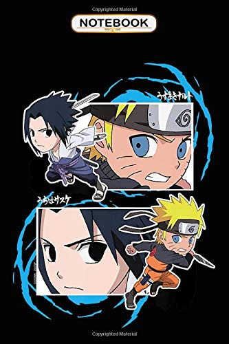 Notebook: Naruto Shippuden Naruto and Sasuke SD Fight Frames , Journal 6x9, 100 Pages Bank Lined Paperback Journal/ Composition Notebook/Anime gifts Notebook
