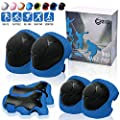 CrzKo Kids Protective Gear, Knee Pads and Elbow Pads 6 in 1 Set with Wrist Guard and Adjustable Strap for Rollerblading Skateboard Cycling Skating Bike Scooter