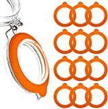 MOYENNEReplacement Rubber Gasket Seal - Glass Jar Seals - 12 Pack Silicone Gaskets For Clip Top Storage Jars Sealing Rings For Regular Mouth Canning And Storage Containers3.75 Inch(Orange)