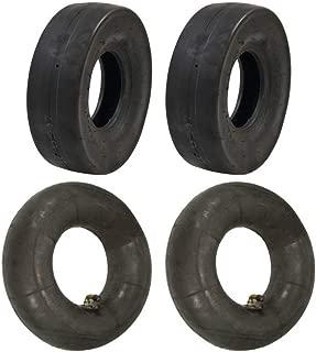 Set of (2) 4.10 x 3.50-5 Tube Type Slicks and (2) 4.10 x 3.50-5 L-Stem Tubes Go-Kart Go-Cart GoKart Gocart Bar Stool Racer Tires