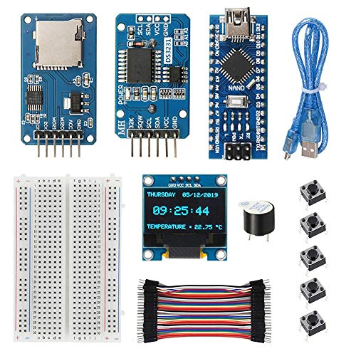 WayinTop Real Time Clock Kit with Tutorial for Arduino Nano, DS3231 AT24C32 Clock Module + Micro SD Card Driver + Development Board für Nano + Oled 128X64 Display + Buzzer + Breadboard Jumper Wires