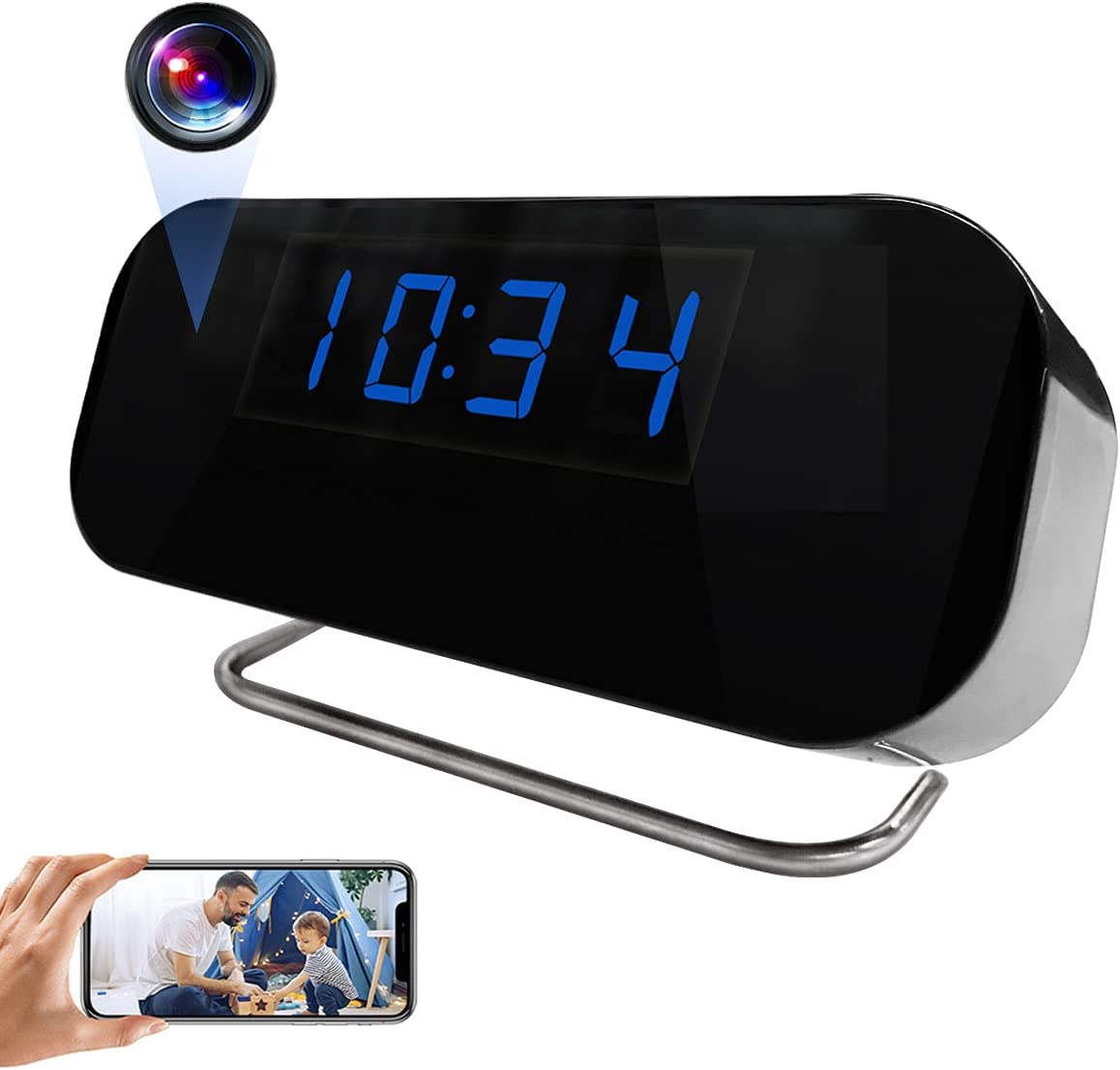 Hidden Spy Camera HD 1080P WiFi Alarm Clock Camera Wireless Security Covert Nanny Cam with App Live Streaming, Loop Recording, Night Vision, Motion Detection Alert for Home and Office