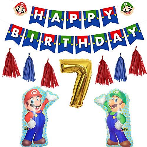 Fun+ スーパーマリオ 誕生日 飾り付けセット かわいいキャラクター HAPPYBIRTHDAYガーランド 数字バルーン タッセルガーランド マリオ風船 7歳誕生日 子供