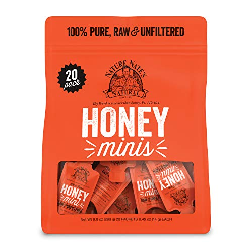 Nature Nate's Raw & Unfiltered Honey Minis Packets, 20 Ct Bag – 100% Pure Honey, Single Serve 14 g per packet