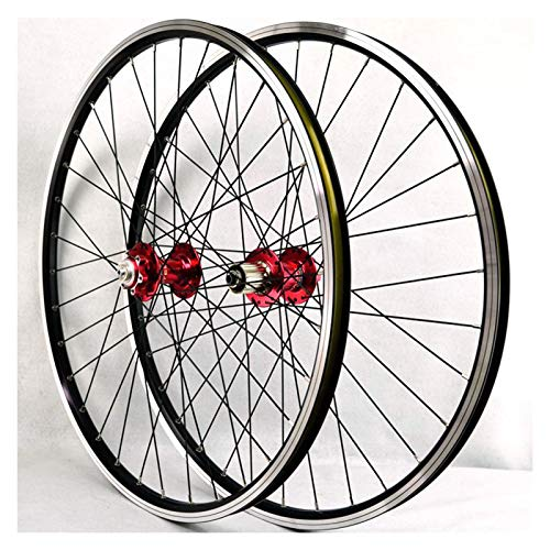 ZFF 26 Inch MTB Bike Wheelset Bicycle Wheel Double Wall Alloy Rim Sealed Bearing Disc/V Brake QR 7/8/9/10/11 Speed Cassette (Color : Red hub)