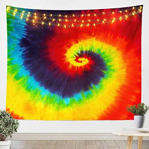 Manta de pared para colgar en la pared, diseño de arco iris, ideal para niños y niñas, adolescentes, decoración de dormitorio, bohemio, psicodélico, manta de cama extragrande, 152 x 201