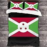 N \ A Bur&i-Flagge 3-teiliges Bettwäsche-Set, 213 x 178 cm, weich, gemütlich, warm, Überwurf, leicht, Bettdeckenbezug, komplettes Bettwäsche-Set, aus bequemer Mikrofaser mit 2 Kissenbezügen
