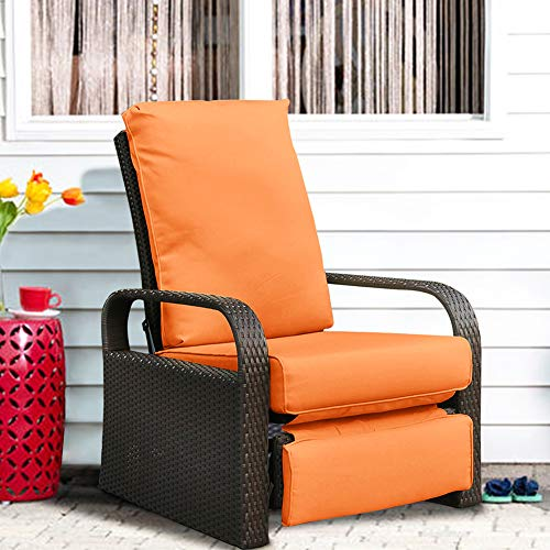 Automatic Adjustable Patio Recliner Chair Relaxing Sofa Outdoor Wicker Armchair Furniture Aluminum Frame Lounge with Soft Thicken Cushion