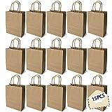 15PCS Color Bolsas Papel Kraft,Bolsas de Papel con Asas de Colores,Bolsa de Regalo Kraft con Asa,Bolsas de Fiesta de Regalo con Asas,Bolsas Papel Regalo (marrón)