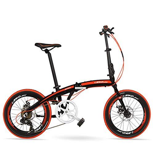"Xiaoyue 7-Gang Faltrad, Erwachsene Unisex 20\"" Light Weight Falträder, Aluminium Rahmen Leicht bewegliche Faltbare Fahrrad, Weiß, 5 Spokes lalay (Color : Red, Size : Spokes)"