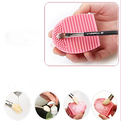 CoKate Brushegg Women Beauty Egg Cleaning Glove MakeUp Washing Brush Scrubber Board Pink