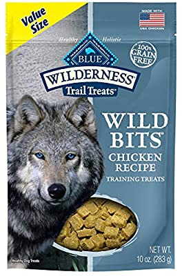 Blue Buffalo Wilderness Trail Treats Wild Bits Grain Free Soft-Moist Training Dog Treats, Chicken Recipe 10-oz bag
