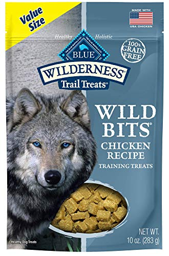 Blue Buffalo Wilderness Trail Treats Wild Bits High Protein Grain Free Soft-Moist Training Dog Treats, Chicken Recipe 10-oz bag