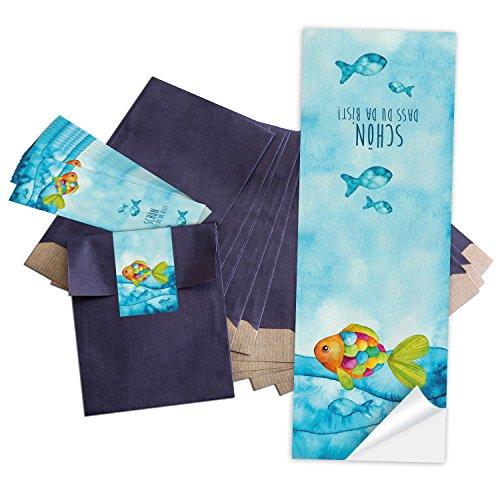 10 kleine blaue Papier-Tüten 13 x 18 cm + 10 blau türkise Regenbogen-Fisch SCHÖN DASS DU DA BIST Aufkleber 5 x 15 cm Verpackung give-away