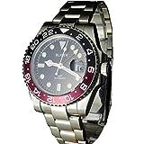 Tickwatch Bliger 40 mm GMT roter und schwarzer Saphir-Kristall-Keramik-Lünette schwarzes...