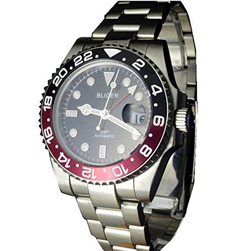 Tickwatch Bliger - Reloj automático con bisel de cerámica y cristal de zafiro rojo y negro (40 mm)