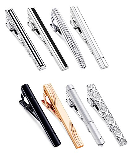 Jstyle 8 Pcs Tie Clips Set for Men Tie Bar Clip Set for Regular Ties Necktie Wedding Business Clips with Box B