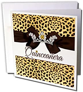 3dRose Quinceanera Cheetah Print with Ribbon, Bow and Digital Bling - Greeting Card, 6