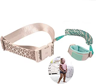 Toddler Leash Anti Lost Toddler Wrist Leash Waist Leash, 1.5m/ 2.5m 360° Rotate Night Vision Lattice Belt Toddler Harness Safety Leashes with Key Lock, Green