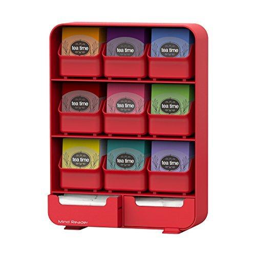 Mind Reader 'Baggy' 9 Drawer Tea Bag And Accessory Holder, Red by Mind Reader