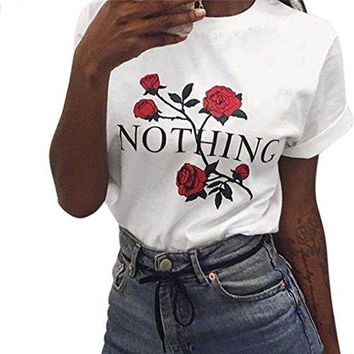 T-shirt hemd damen Kolylong® Frauen sommer rose drucken lose tops Bluse Kurzarm T-Shirt (Weiß, M)