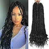 7 Packs 18 Inch Medium Crochet Box Braids With Curly Ends Box Braids Crochet Hair Extensions 3X Box Braided Crochet Hair Kanekalon Braiding Hair 24 Strands/Pack (18inch, 1B)