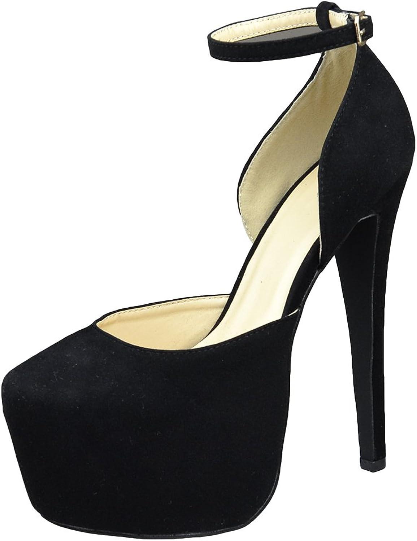 DS By KSC Womens Platform shoes Back Strap Mid Open Stiletto Pumps Black