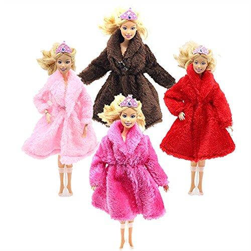 Pelz Winter Warme Mantel Kleidung Flanell Outfit Puppe Zubehör Für Barbie-puppe (Rose+Rosa+Braun+Rot)