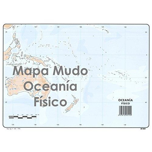 Mapa Mudo SELVI Color Din-A4 Oceanía Físico, Caja x50
