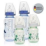 NIP PP Flasche Boy//4er Set//Babyflasche 2 x 125 ml & 2 x 250 ml//kiefergerechter Sauger Silikon mit Anti-Kolik Ventil//Größe S & M (Tee & Milch/ab 0 Monate)//inkl. Verschlußplättchen