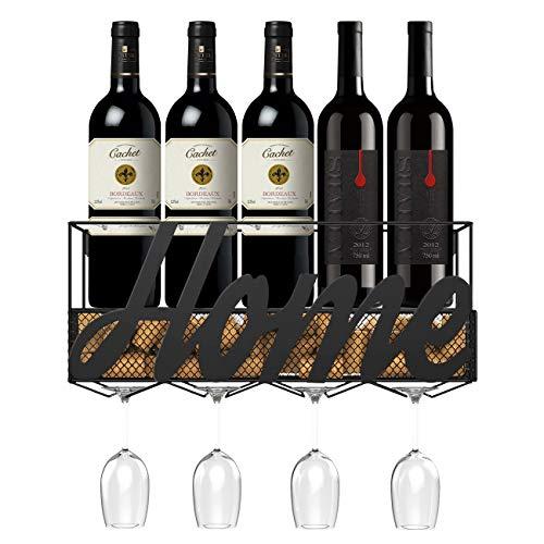 Housolution Botellero de Pared, Estante Durable de Botellas y Copas de Vino, Estante de Almacenamiento Multifuncional para Colocar Vino, Champaña, Bebidas y etc en Hogar, Bar, Restaurante – Negro