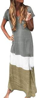 comprar comparacion Reooly Fashion Vestido Largo y Falda de Manga Corta con Cuello en V Flojo de Gran tamaño para Mujer, teñido Diario, Color ...