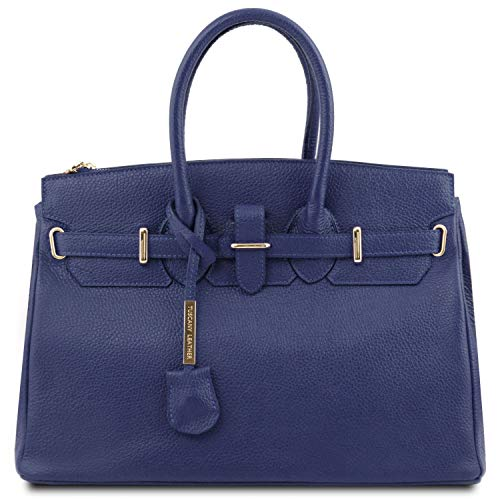 Tuscany Leather TL Bag - Handtasche aus Leder mit goldfarbenen Beschläge - TL141529 (DUNKELBLAU)