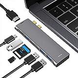 FLYLAND Adaptateur USB C pour Macbook Pro/Air, Hub USB C avec HDMI 4K @ 60Hz, 7 en 2 Adaptateur De Type C, Thunderbolt 3, 3X USB 3.0, Lecteur De Carte SD/Micro SD, Gris