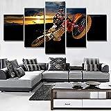 QMCVCDD Tableau Multi Panneau 5 Parties Motocross Motor Sports Decoration Murale 150X80Cm 5 Pieces Toile Tableau Tableaux Decor Murale Salon Moderne XXL Encadré