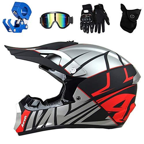 PKFG® Motorrad Crosshelm Kinder, (4-in-1) Motocross Enduro Helm mit Brille Maske Handschuhe, Motorradhelm für ATV MTB Mountainbike, Schwarz Silber Rot Image-Shell,XL(58~59cm)