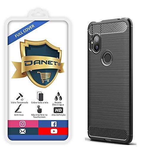 Kit Danet Capa Capinha Anti Impacto Para Motorola Moto One Hyper Tela 6.5Case Com Desenho Fibra De Carbono E Película De Vidro Temperado 3d Full Cover (Preto)