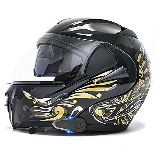 Casco Bluetooth para motocicleta, certificación DOT/ECE, intercomunicador 1000M FM (impermeable/manos libres/estéreo/GPS /) Sistema de comunicación Casco modularwang 5,L=59-60CM
