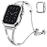 Recoppa Compatible with Apple Watch Band 40mm Series 6 5 4, Jewelry Bracelet Bangle Wristband and Bling Case with Tempered Glass Screen Protector for iWatch(Silver Diamond/40mm)