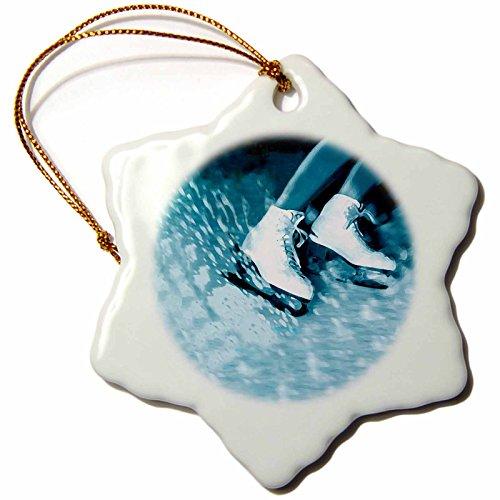 3dRose Eiskunstlauf, Schlittschuhe Schneeflocke Porzellan Ornament, 3Zoll