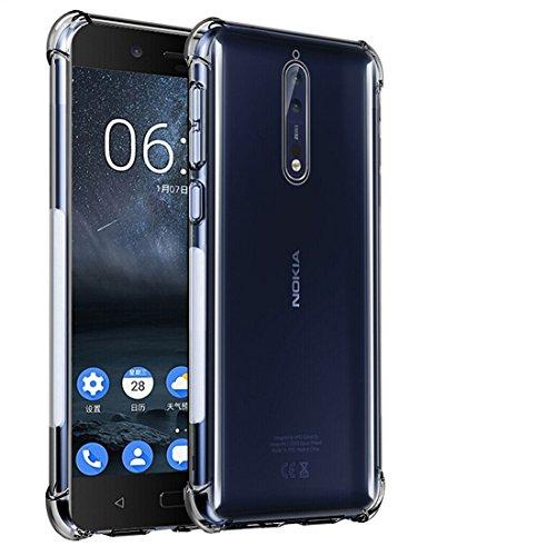 TIYA Nokia 8 ケース クリア ノキア Nokia8 スマホ 透明 TPU 携帯ケース 薄型 ソフト 背面 クリスタル 純正 全面守る 丈夫な 耐衝撃シリコン 四角 バンパー 傷つけ防止 保護 四隅の厚 いエアバッグ 新しい