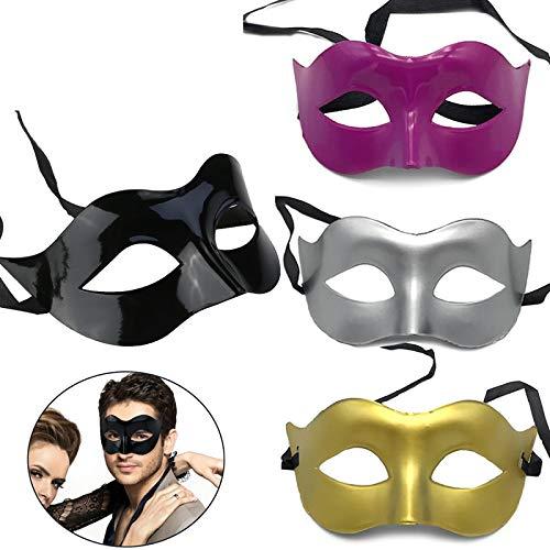 CAILI Masquerade Viso Maschera Uomo Romano per Costume Halloween a Sfera Mascherata Maschera Veneziana Maschera Mascherata Nera in Oro, Argento, Rosa Rossa, Nero (4 in Totale)