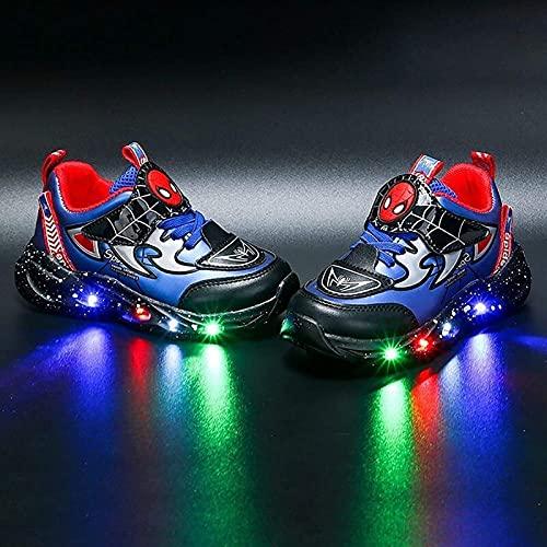 GYTH Niños DIRIGIÓ Light Up Trainers Zapatos Intermitentes Niños Niñas Zapatos de araña Casual Ligero Ligero Zapatillas Transpirables Nuevo Spiderman Light Up Entrenadores (Color : Blue, Size : 24EU)