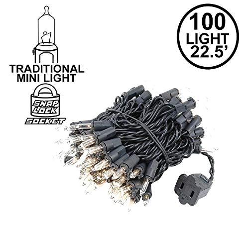 Novelty Lights 100 Light Clear Christmas Mini Light Set, Black Wire, 22' Long