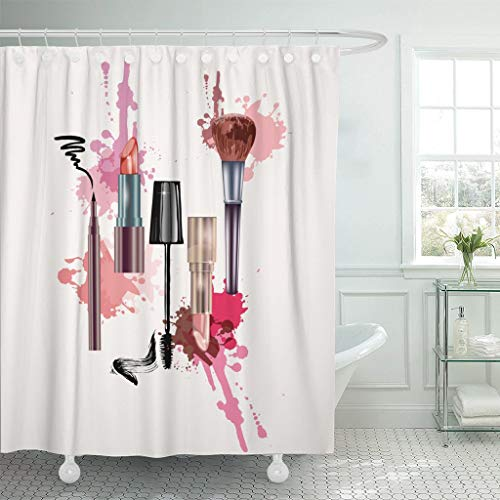 LongTrade Bad Duschvorhang Shower Curtain Pink Cosmetics and Make Up Artist Lipstick Mascara...