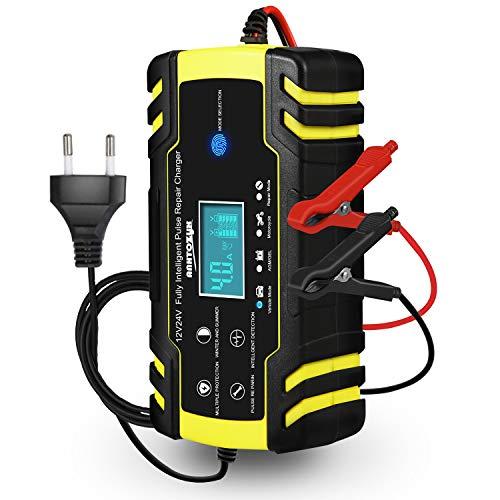 Autobatterie Ladegerät, 12V/24V KFZ Batterieladegerät, Vollautomatisches Intelligentes Erhaltungsladegerät mit LCD-Touchscreen für Auto, Motorrad, Rasenmäher oder Boot(Batterien von 6Ah-150Ah)