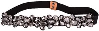 Women's Rhinestone Skinny Belt Floral Elastic Cummerbunds for Lady Black